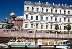 Tourists on cruiser boat, Saint-Petersburg Royalty Free Stock Image