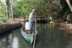 Tourists cruising on a canoe a river of the backwaters at Kollam Royalty Free Stock Photography