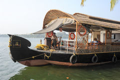 Tourists cruising on a houseboat a river of the backwaters at Ko Royalty Free Stock Photography
