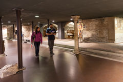 Tourists in crypt of Duomo Cathedral in Florence Stock Photos