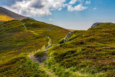 Tourists curve path up the hill to the top. Beautiful grassy mountain meadows with rocks on humps Stock Images