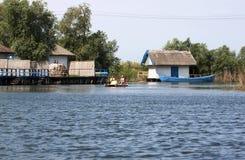 Tourists in Danube delta Stock Photo