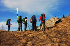 Tourists debating the path to follow in Ciucas mountains, Romania Stock Images