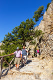 Tourists descend down the Gorge Samaria in central Crete, Greece Royalty Free Stock Image