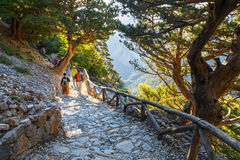 Tourists descend down the Gorge Samaria in central Crete, Greece Royalty Free Stock Images