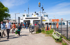 Tourists descend from the Suokki ship, Helsinki Stock Images