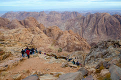 Tourists descend from the top of Mount Moses, Egypt Royalty Free Stock Images