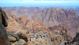 Tourists descend from the top of Mount Moses, Mount Sinai, Egypt Stock Photo