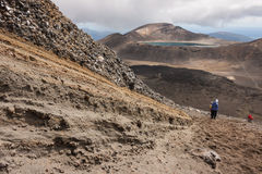 Tourists descending lava fields Royalty Free Stock Photography