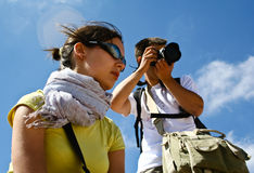 Tourists in desert Wadi Rum. Jordan. Tourists in the desert Wadi Rum. Jordan Stock Photography