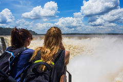 Tourists at Devil's Throat, Iguazu Falls, Argentina Stock Photos