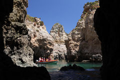 Tourists discovering Algarve, Portugal Stock Photos