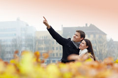 Tourists discovering city Royalty Free Stock Photo
