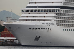 20,000 tourists disembark from transatlantic ships in Rio de Jan. MSC Orchestra at Port of Rio. During the Christmas holiday, four large transatlantic ships Stock Image