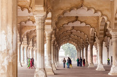 Tourists at Diwan-I-Am in Agra Fort, India Royalty Free Stock Photos