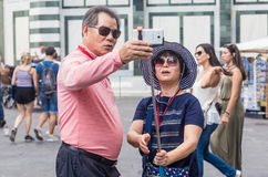 Tourists do selfi in Florence Stock Image