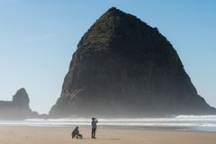 Tourists with a dog enjoying the beach with Haystack Rock in the background at Cannon beach, Oregon, USA. stock photography