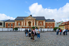 Tourists at Drama Theatre at Theatre Square, Klaipeda, Lithuania Royalty Free Stock Photo