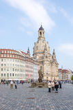 Tourists at Dresden Frauenkirche Royalty Free Stock Photos