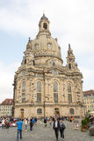 Tourists at Dresden Frauenkirche Royalty Free Stock Image