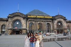Tourists at Dresden train station, Germany Royalty Free Stock Images