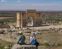 Triumphal Arch of Emperor Caracalla in Volubilis, Morocco royalty free stock image
