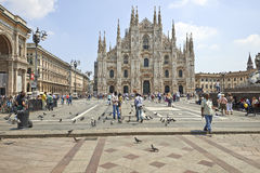 Tourists at The Duomo cathedral from Milan, Italy Royalty Free Stock Photography