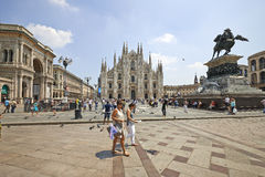 Tourists at The Duomo cathedral from Milan, Italy Stock Photography