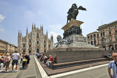 Tourists at The Duomo cathedral from Milan, Italy Royalty Free Stock Photo