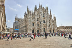 Tourists at The Duomo cathedral from Milan, Italy Stock Image