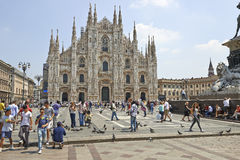 Tourists at The Duomo cathedral from Milan, Italy Stock Photo