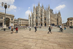 Tourists at The Duomo cathedral from Milan, Italy Royalty Free Stock Images