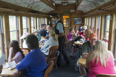 Tourists on Durango and Silverton Narrow Gauge Railroad Steam Engine Train, Durango, Colorado, USA Stock Photos