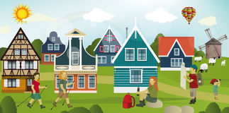 Tourists in the Dutch countryside. Vector illustration of tourists in the Dutch countryside stock illustration