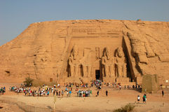 Tourists in Egypt. Scenery of tourists at the huge statues of Pharaoh Ramesses II,at Abu Simbel,Egypt.Used for news and articles about the traveling and history Stock Images