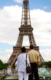 Tourists at Eiffel tower Royalty Free Stock Photo