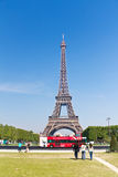 Tourists at the Eiffel Tower in Paris Stock Photography
