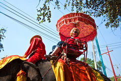 Tourists on an elefant ride. Tourists are riding on an elephant thru the old part of Ajutthaya Stock Photo