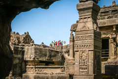 Tourists in Ellora caves Stock Photography