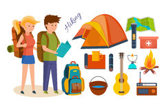 Tourists, engaged in hiking, camping, basic equipment, facilities in hikes. Set of basic equipment, tools and facilities in joint hikes, summer vacation stock illustration