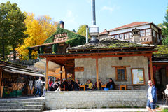The tourists enjoing their vacation in Metsovo village Stock Image