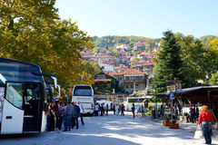 The tourists enjoing their vacation in Metsovo village Stock Images