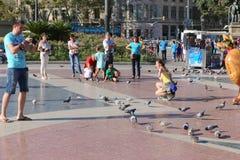 Tourists enjoy at Barcelona Stock Photography