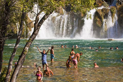 Tourists enjoy a bath at Krka waterfalls, Croatia Royalty Free Stock Photography