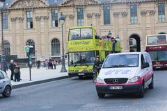 Tourists enjoy at bus trip - Paris Royalty Free Stock Photos