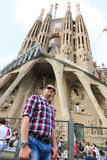Tourists enjoy at Cathedral of the Holy Family - Barcelona Stock Images