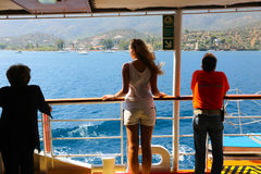 Tourists enjoy cruise trip - Greece Stock Photo