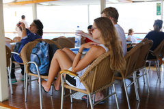 Tourists enjoy in cruise trip - Greece Royalty Free Stock Image
