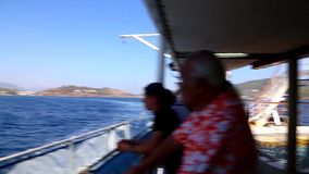 Tourists enjoy in cruise trip - Greece stock video footage