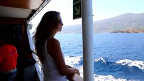 Tourists enjoy in cruise trip - Greece stock video